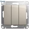 3-клавишный выключатель, сх. 1+1+1, 10AX,  механизм,  МОЛОЧНЫЙ